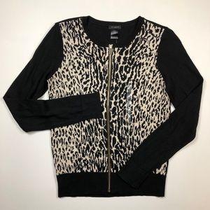 Ann Taylor black cream animal print cardigan XS